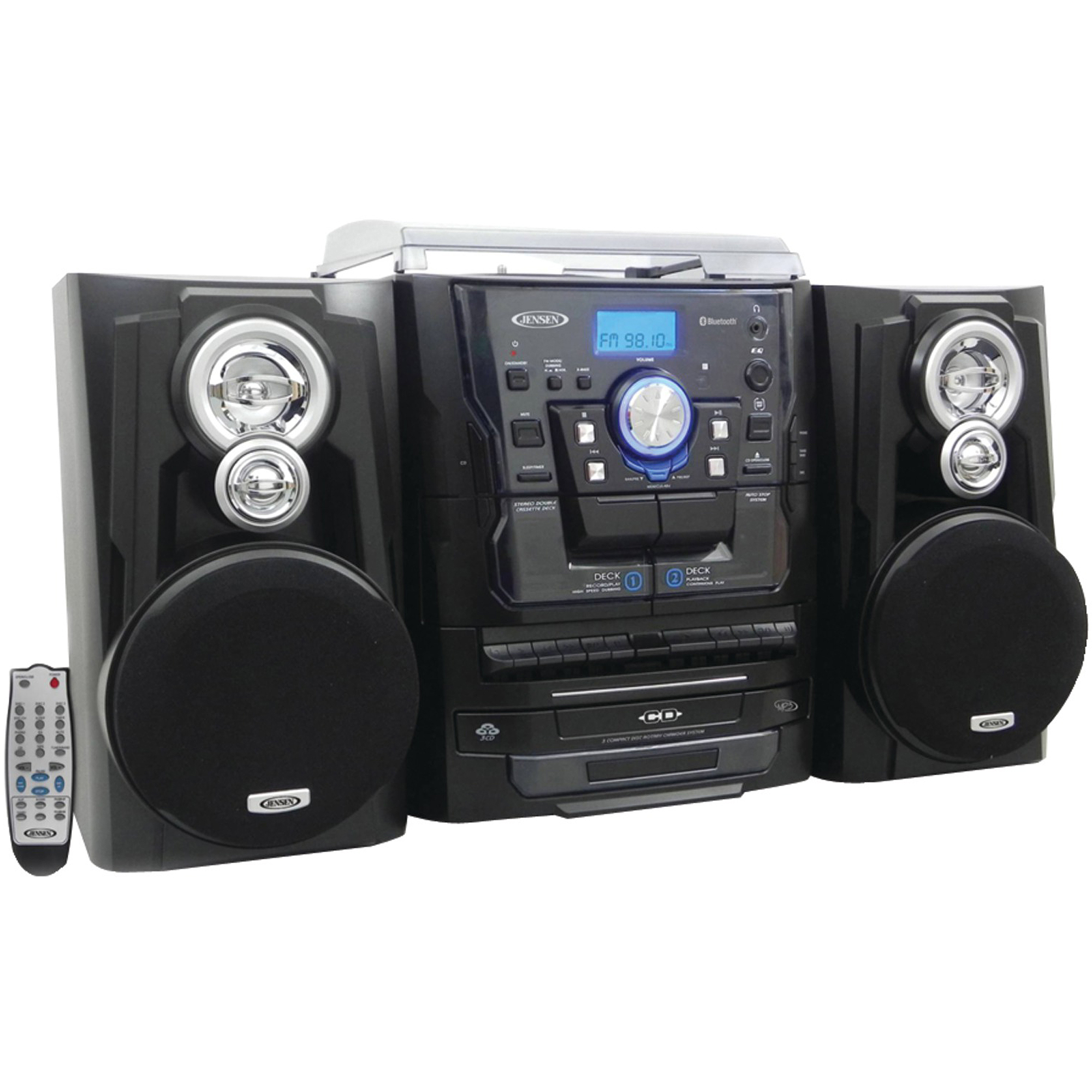 Jensen JMC-1250 Bluetooth 3-Speed Stereo Turntable Music System with 3-CD Changer and Dual Cassette Deck