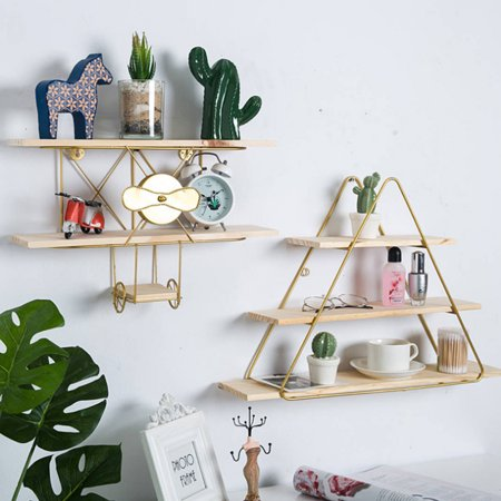 Innovative Triangle/Aircraft Wall Shelf Geometric Iron & Wooden Craft Wall Rack Storage Living Room Home Decor(Only Wall -