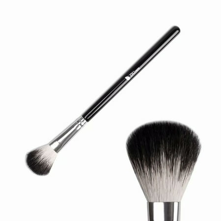 DUcare Highlighter Brush Makeup Brushes Fan Blending Eyeshadow Contouring Blush Brush Goat Hair Cosmetic Tool, 1Pcs Silvery&Black ()