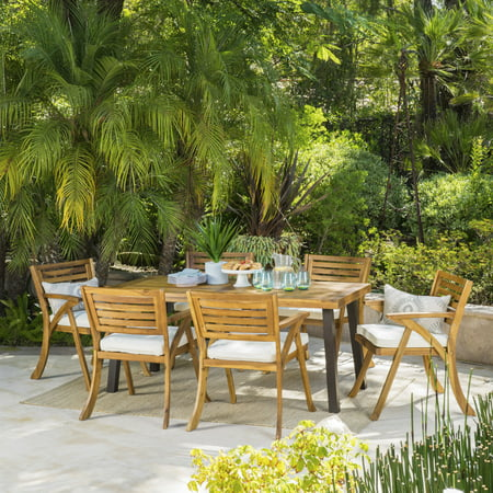 Paul 7 Piece Outdoor Acacia Wood Dining Set, Teak Finish