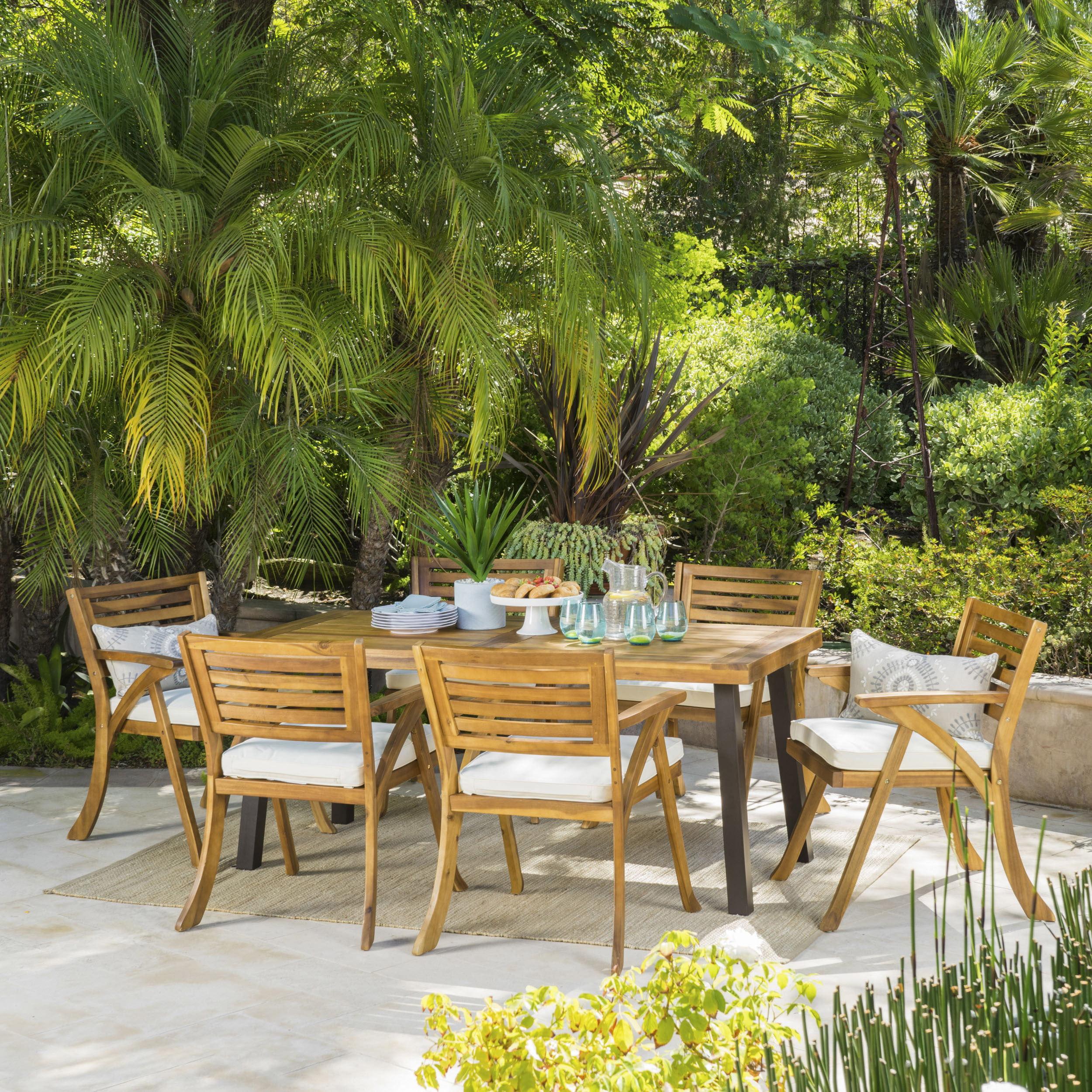 Paul 7 Piece Outdoor Acacia Wood Dining Set, Teak Finish