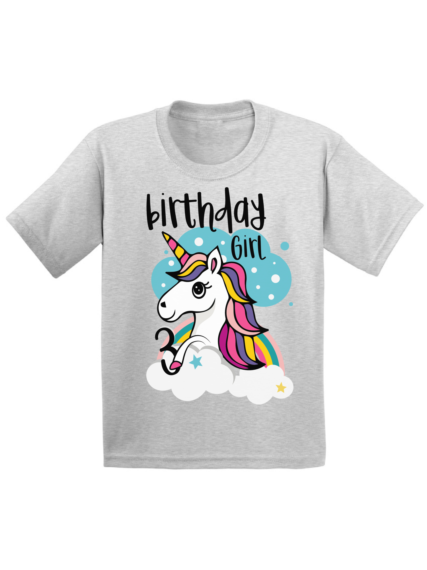 Awkward Styles Birthday Girl Toddler Shirt Unicorn Tshirt For Girls 3rd Party Rainbow Little