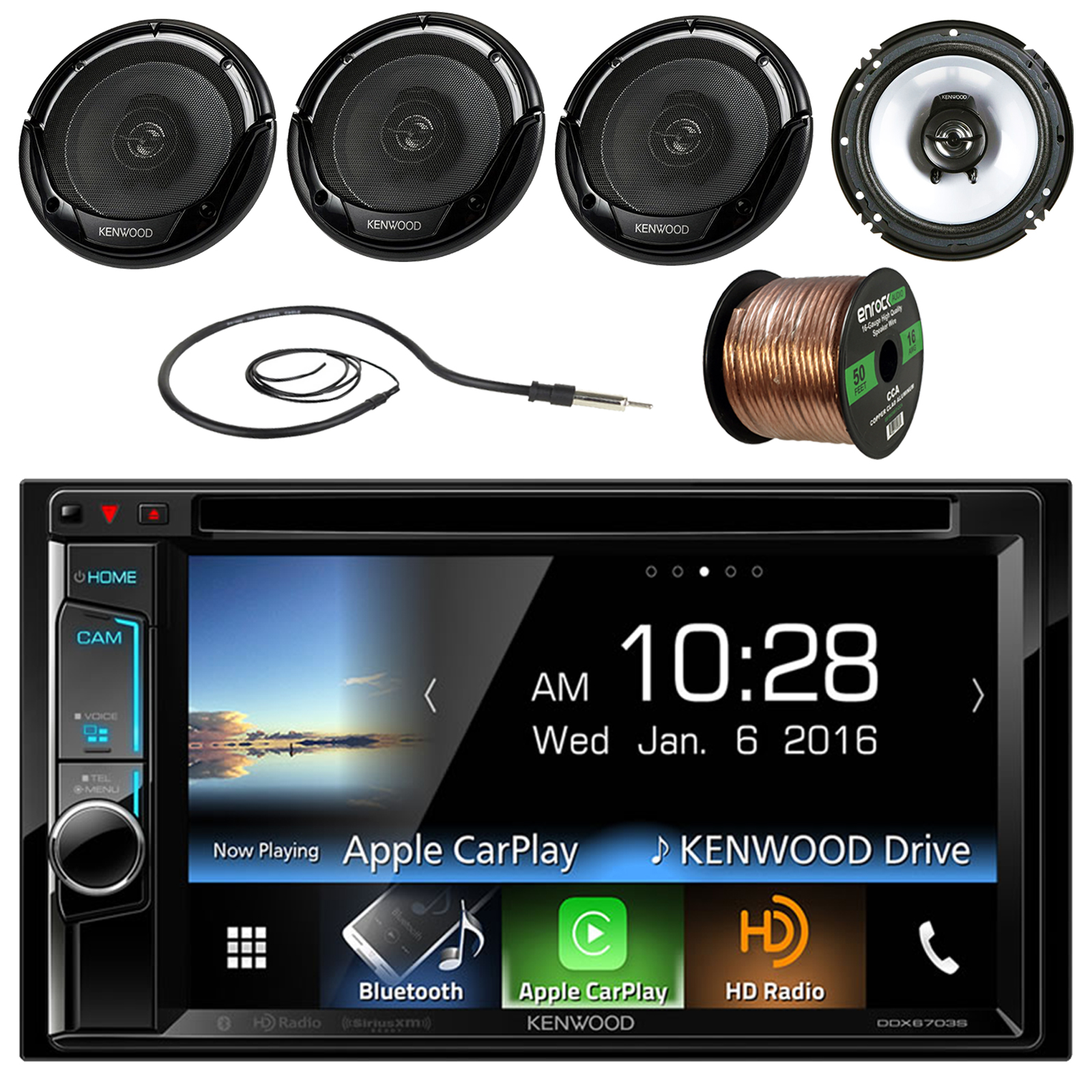 "Kenwood DDX6703S 6.2"" Double-DIN CD DVD Bluetooth Car Stereo Receiver - Bundle Combo With 4x 6 1/2"" 2-Way Flush Mount Coaxial Black Car Speakers + Enrock 50Ft 16g Speaker Wire + Radio Antenna"