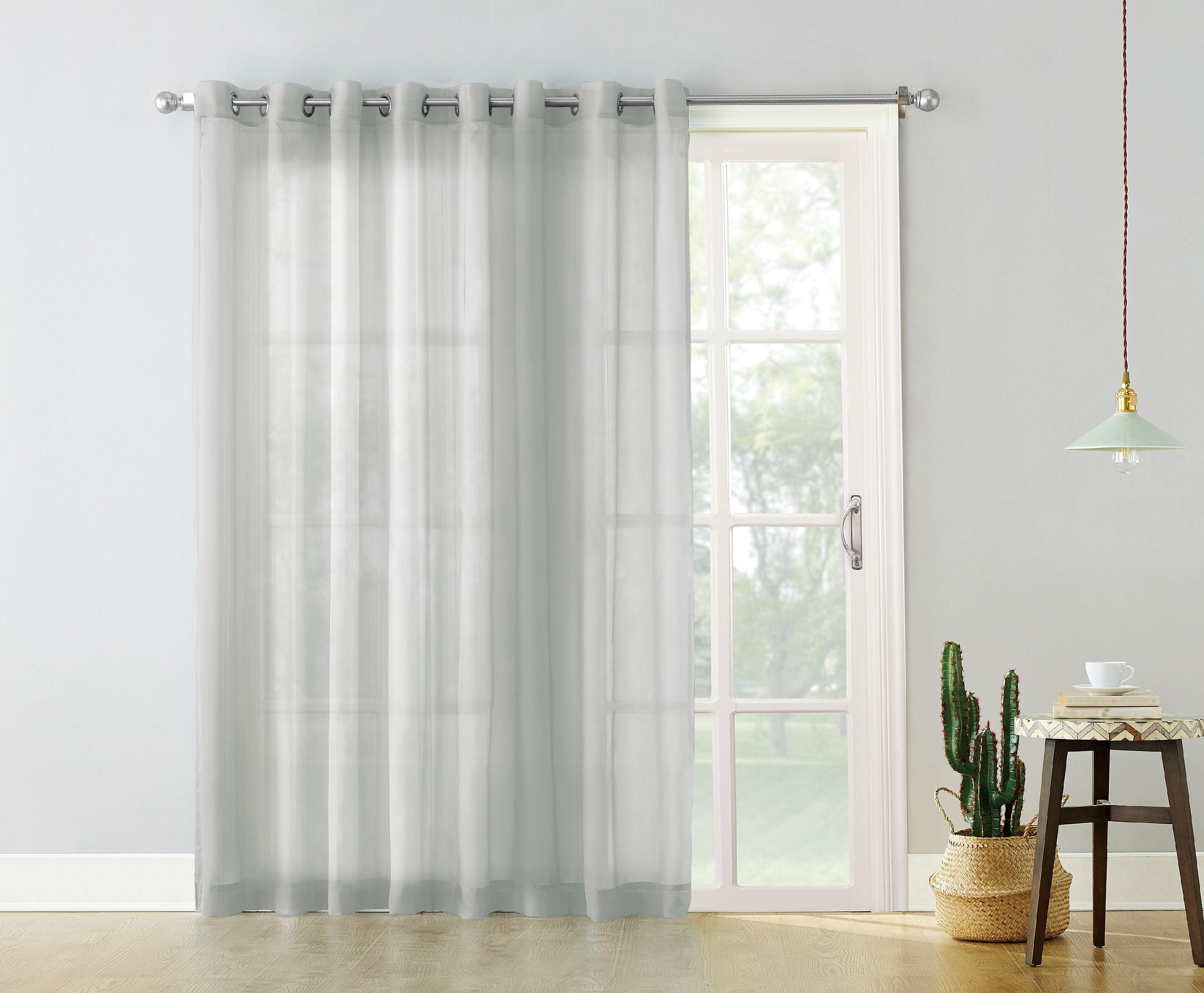 No 918 Emily Extra Wide Sheer Voile Sliding Door Patio Curtain Panel Walmart Com Walmart Com