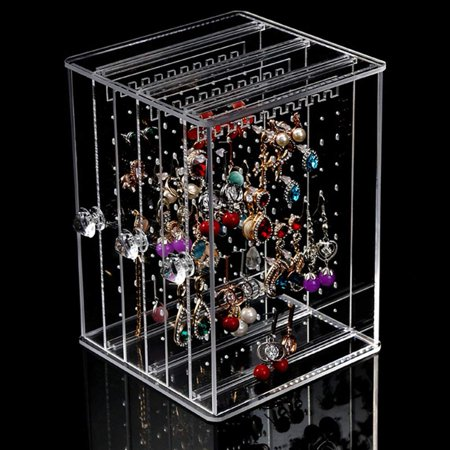 Acrylic Jewelry Display Stand Earring Holder Bracelets Necklace Organizer with 3 Vertical Drawer, Clear
