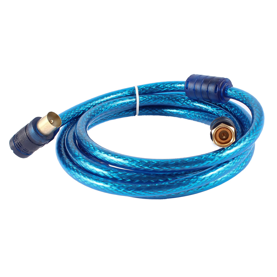 Unique Bargains Blue PAL Male to F Type Male TV RF Coaxial Adapter Connector Cable 5ft
