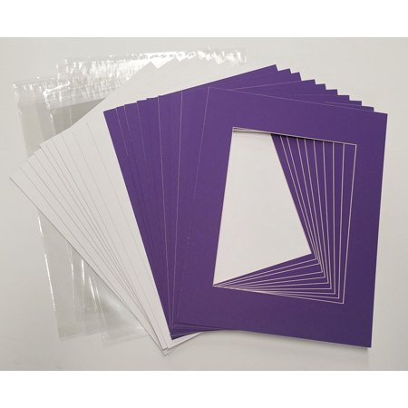 """Purple 40.5cm x 51cm (16""""x20"""") White Picture Mats with White Core for 20.5cm x 25.5cm (8""""x10"""") Pictures - Fits 40.5cm x - image 2 of 2"""
