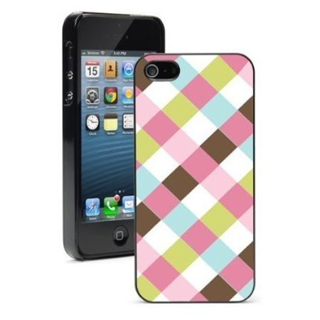 Apple iPhone 6 6s Hard Color Back Case Cover Protector Pink Brown Blue Green Plaid (Black)