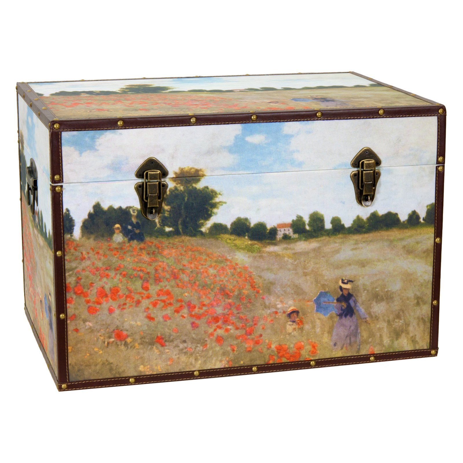 Oriental Furniture Monets Poppies Trunk