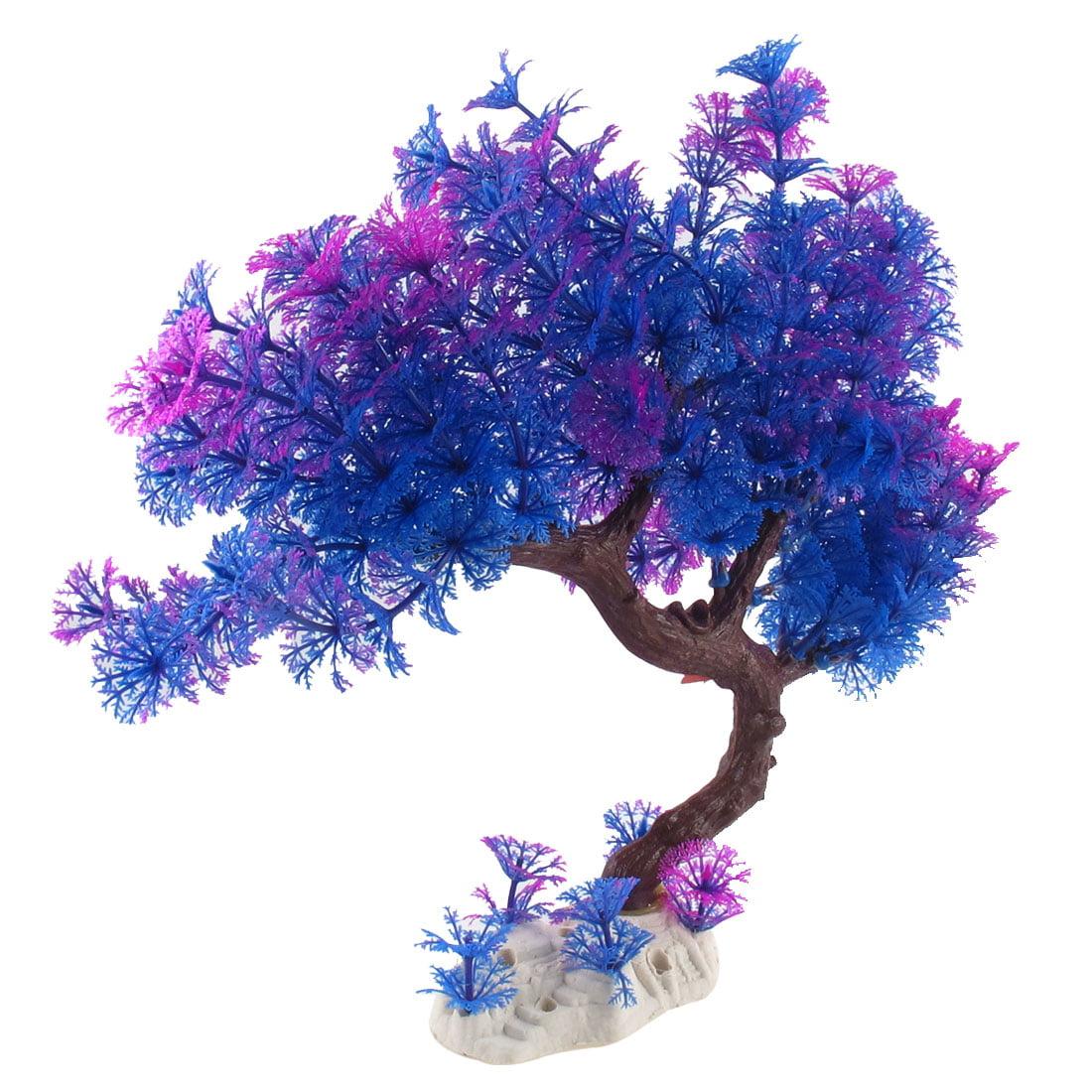 Purple Aquarium Plant with Ceramic Base, 12-Inch Height