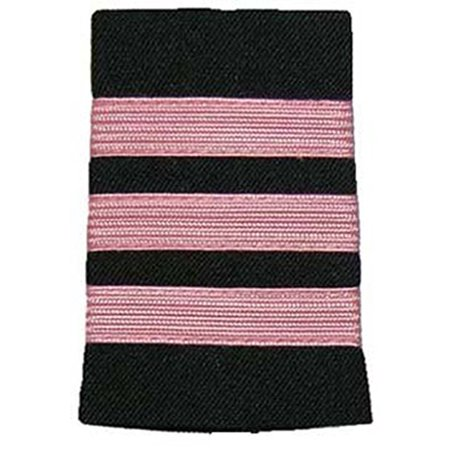 Peachtree Pilot Epaulets First Officer Three Bar Pink Nylon on Navy- Breast Cancer Awareness (Special Officer Badge)