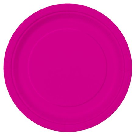 Neon Doodle Party Supplies (Paper Plates, 9 in, Neon Pink,)