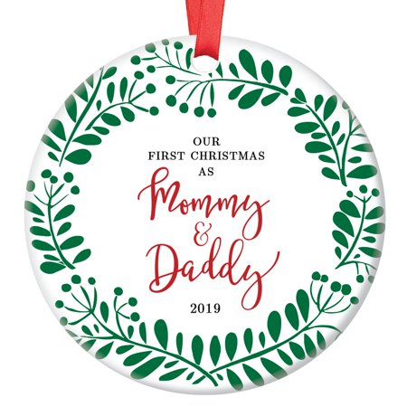 Christmas Gifts For New Parents.Our First Christmas As Mommy Daddy 2019 New Parents Ornament 1st Christmas Porcelain Ornament 3 Flat Circle Christmas Ornament Glossy Glaze Red