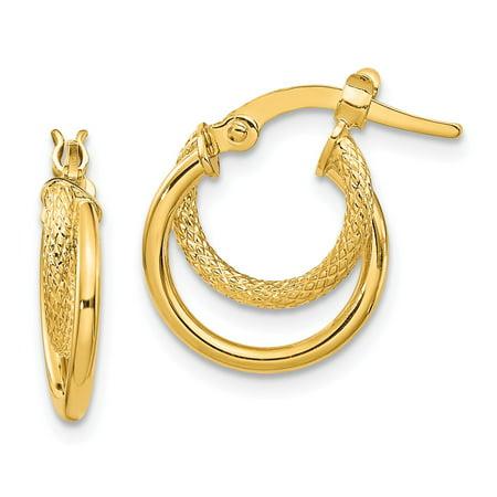 14 Karat Polished & Textured Hinged Hoop Earrings