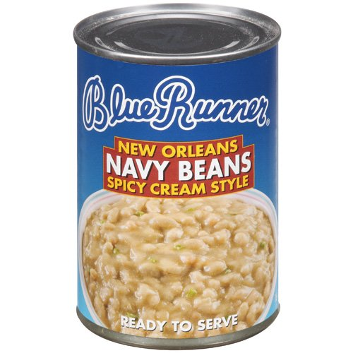 (6 Pack) Blue Runner New Orleans Spicy Cream Style Navy Beans, 16 Oz