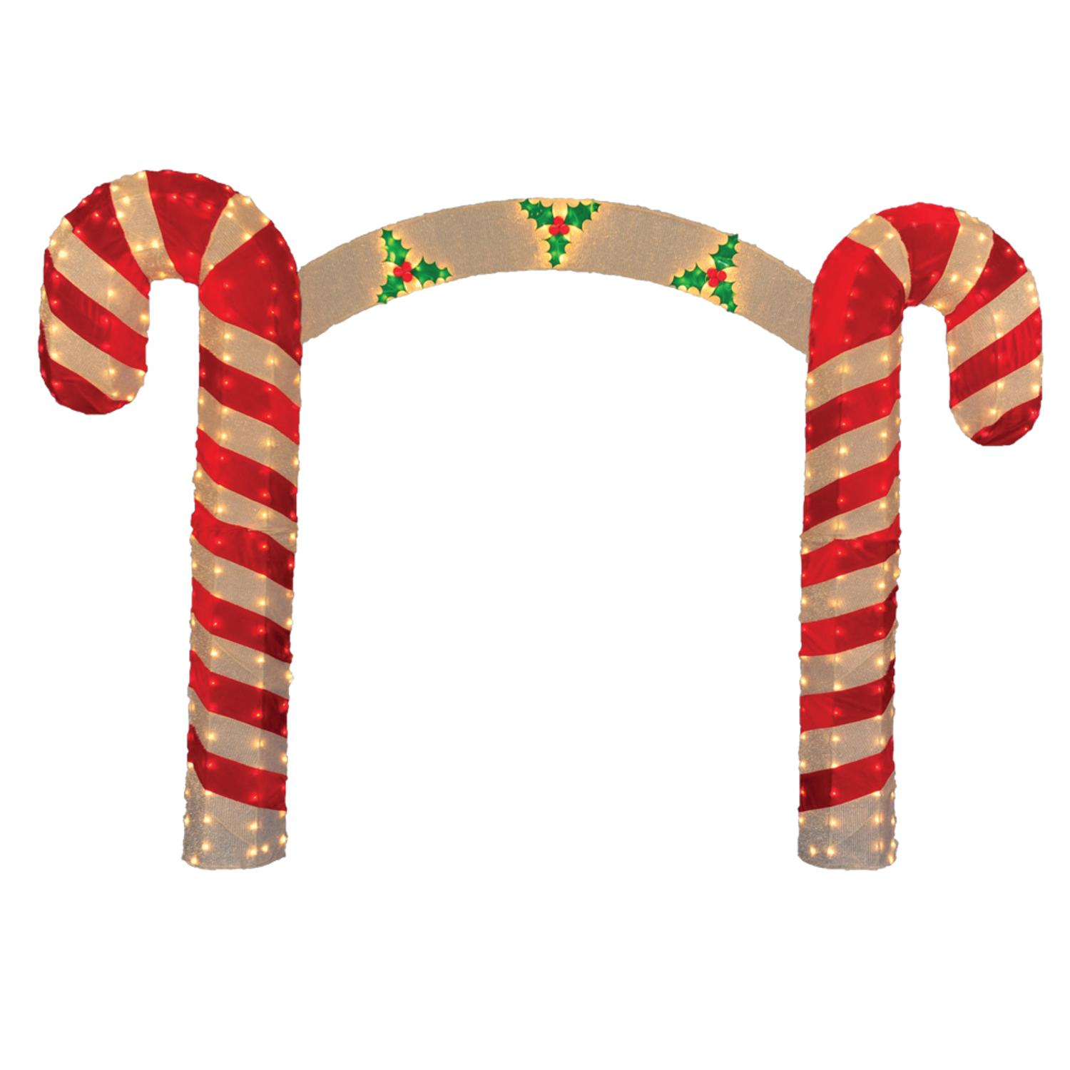 10 pre lit candy cane christmas archway yard art decoration clear lights walmartcom - Christmas Arch Decorations