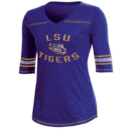 (Women's Russell Purple LSU Tigers Fan Half-Sleeve V-Neck T-Shirt)