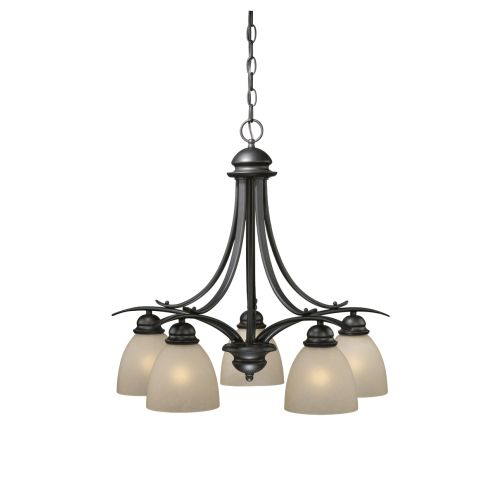 Vaxcel Lighting AL-CHD005 Avalon 5 Light Single Tier Chandelier with Frosted Gla