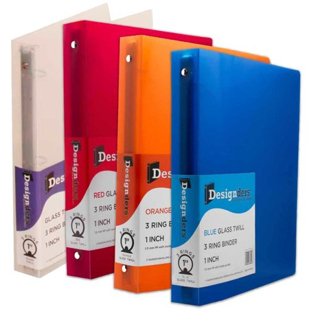 JAM Paper Assorted 1 Inch Width Plastic 3 Ring Binders, Red, Green, Blue & Orange, -