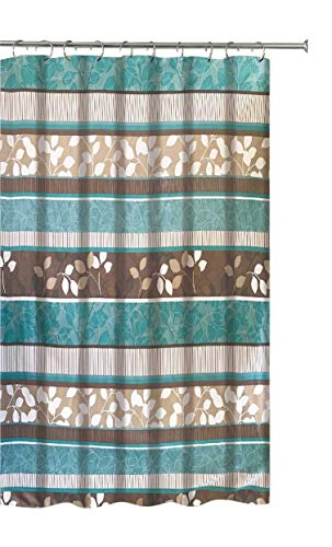 Aqua Blue Fabric Shower Curtain Primitive Striped Floral Design 70 By 72 Inches Teal Aqua Brown Beige