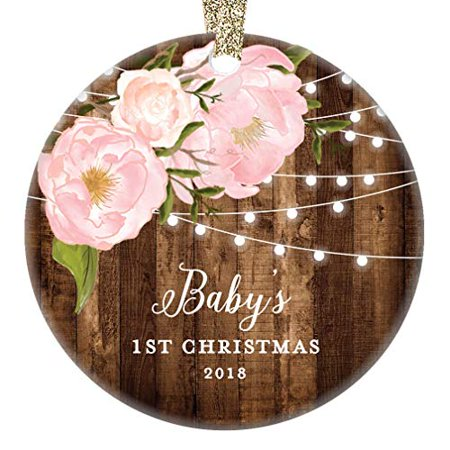 Baby's 1st Christmas Gifts, Little Girl Newborn Babies Christmas Ornament 2018 Dated Yearly Annual Pink Peonies Xmas Collectible 3