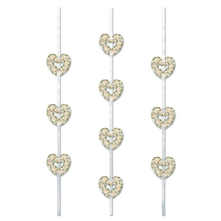 Club Pack of 36 Valentine Themed Floral Heart Ribbon Stringer Hanging Silver Party Decoration 4'