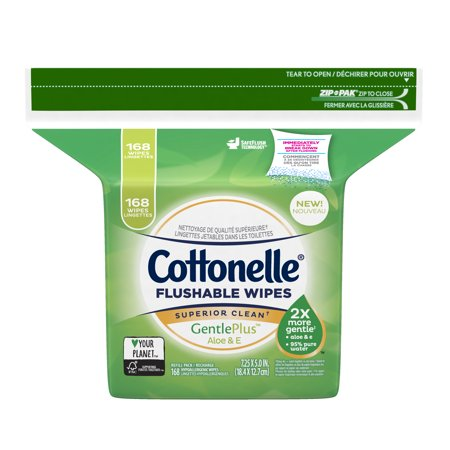 Cottonelle GentlePlus Flushable Wet Wipes with Aloe & Vitamin E, 168 Wipes per (Flushable Moist Wipes Case)