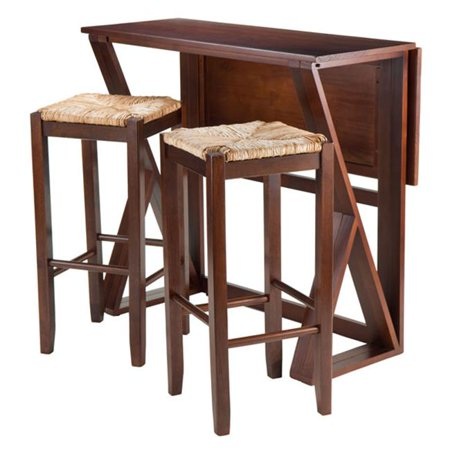 36.22 x 39.37 x 31.5 in. Harrington Drop Leaf High Table with 2-29 in. Rush Seat Stools - 3 Piece
