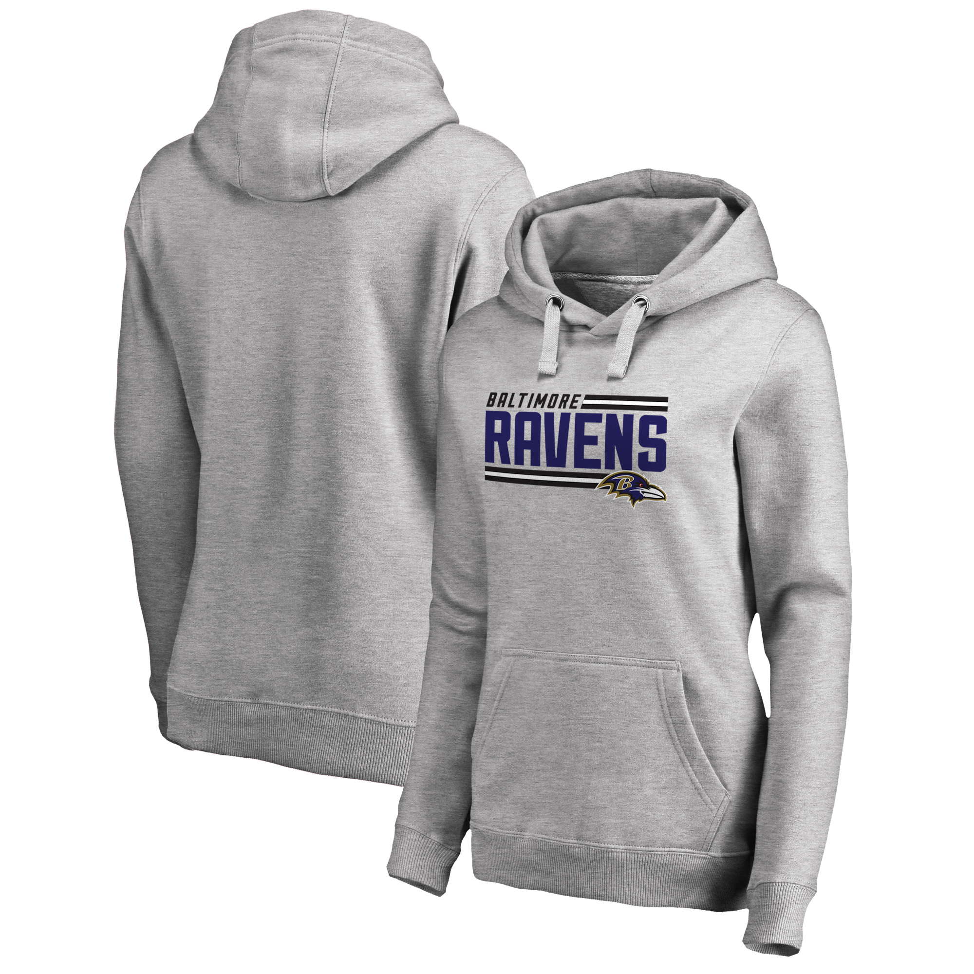 Baltimore Ravens NFL Pro Line by Fanatics Branded Women's Iconic Collection On Side Stripe Pullover Hoodie - Ash