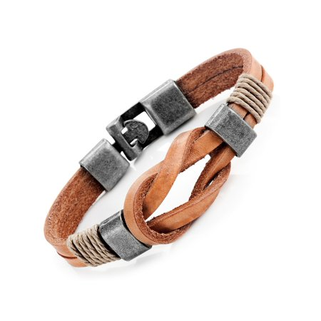 Tan Leather Nautical Knot Bracelet for Him and Her, Unisex, 100% Genuine Leather, 8