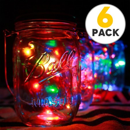 6pcs Solar Mason Jar Lid Lights, 10 Led String Fairy Star Firefly Jar Lids Lights, Perfect for Mason Jar Decor, Patio Garden Decor Solar Laterns Table Lamp (Jaw String)