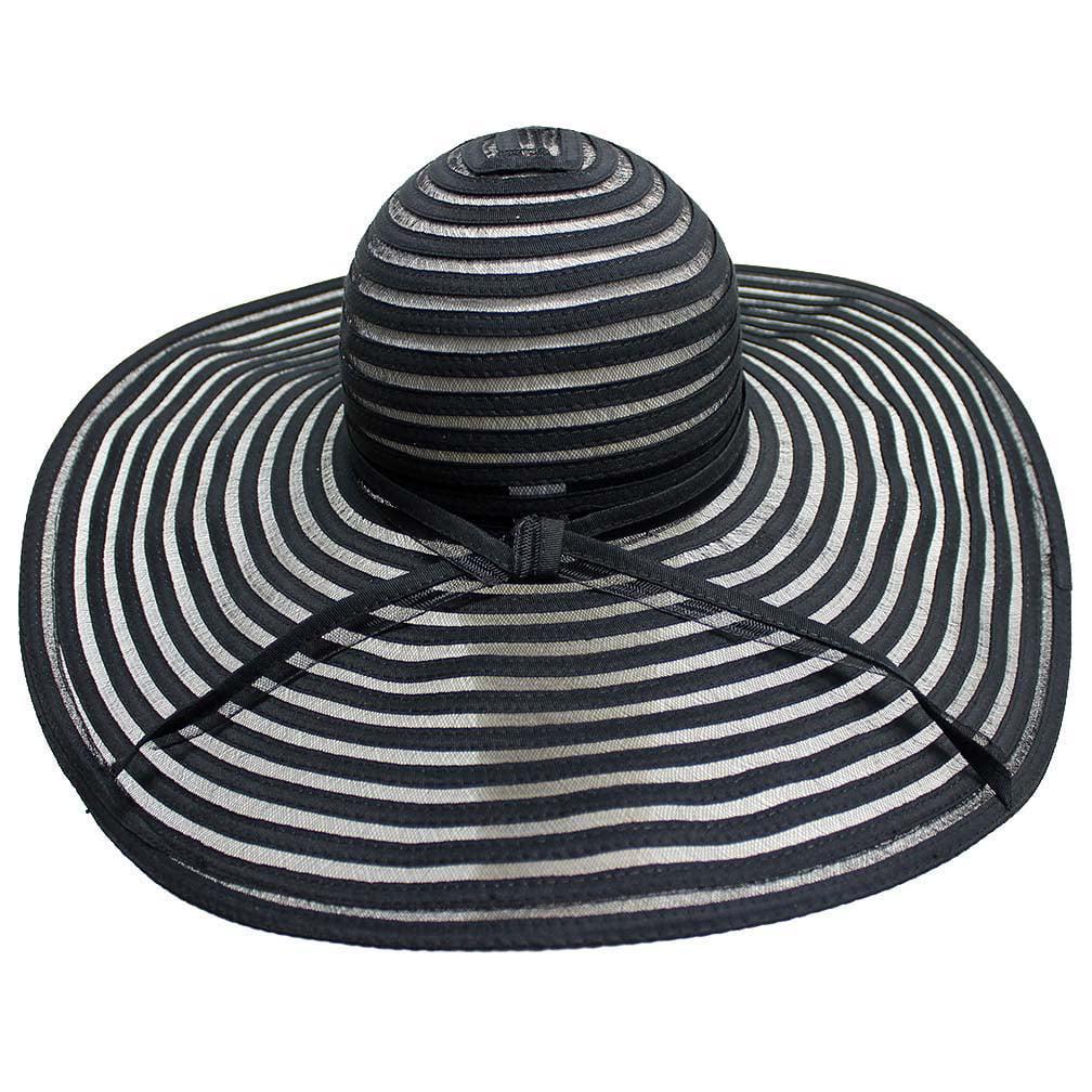 Luxury Divas Black Sheer Striped Wide Brim Floppy Sun Hat