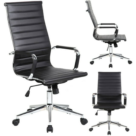2xhome - Designer Boss PU Leather with Arms wheels Swivel Tilt Adjustable Executive Manager Mid Century Office Chair High Back Ribbed Modern Work Task Computer Black Desk (Best Business Task Manager)