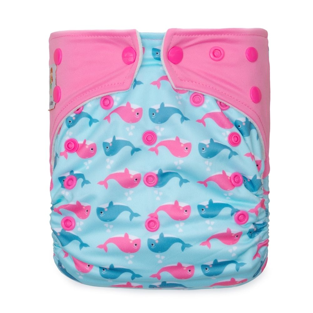 Kawaii Baby Girls Printed One Size Cloth Diaper Snap Closure 2 Microfiber Inserts Dolphin
