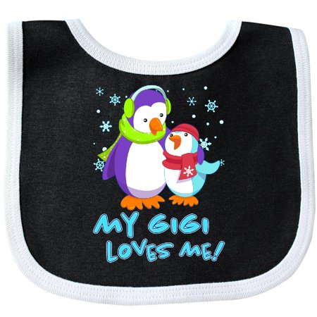 Inktastic My Gigi Loves Me! Cute Penguins Baby Bib Family Winter Grandson Grandmother Grandma Hat Scarf Earmuffs Snowflake Hugs Cuddly Adorable Granny Grandchild First Gift Clothing Infant