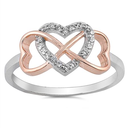 CHOOSE YOUR COLOR Rose Gold-Tone White CZ Heart Infinity Ring New .925 Sterling Silver