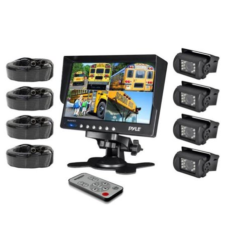 Weatherproof Rearview Backup Camera   Monitor Safety Driving Video System  7  Monitor   4  Night Vision Cameras  Commercial Grade  Dual Dc Voltage 12 24 For Bus  Truck  Trailer  Van