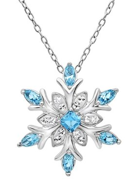 Amanda Rose Collection Sterling Silver Blue and White Snowflake Pendant Necklace with Swarovski Crystals