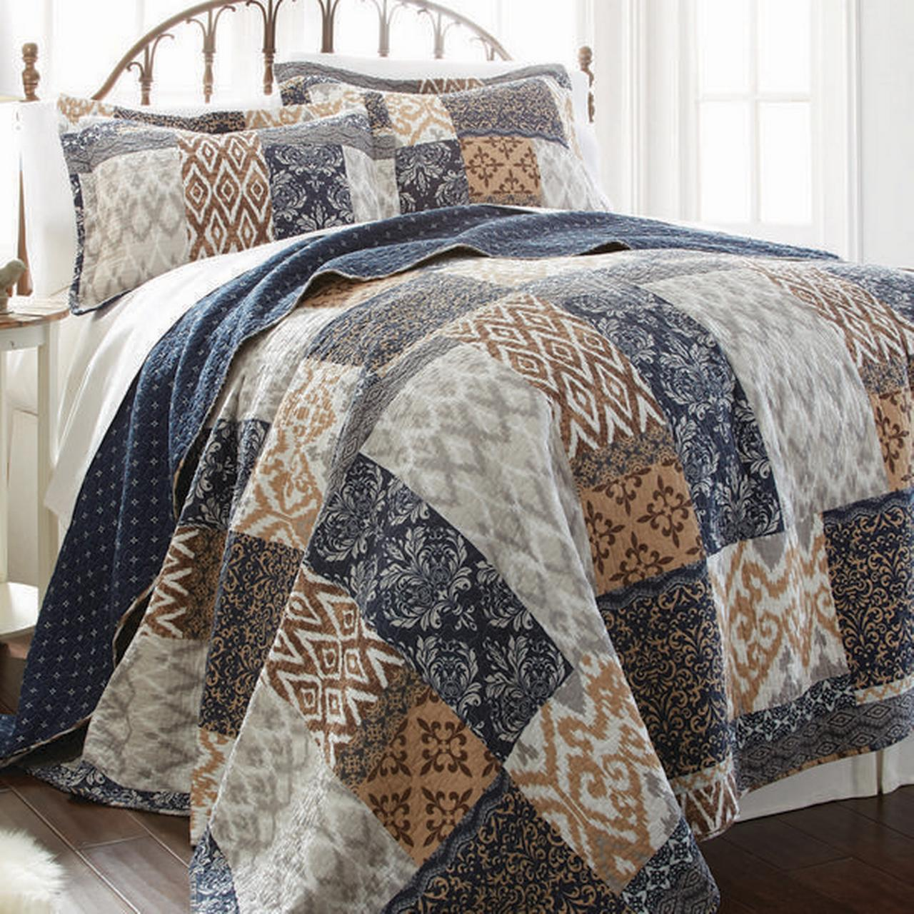 100% Cotton 3 Piece Printed Reversible Quilt Set Laura Full Queen by Amrapur Overseas, Inc.