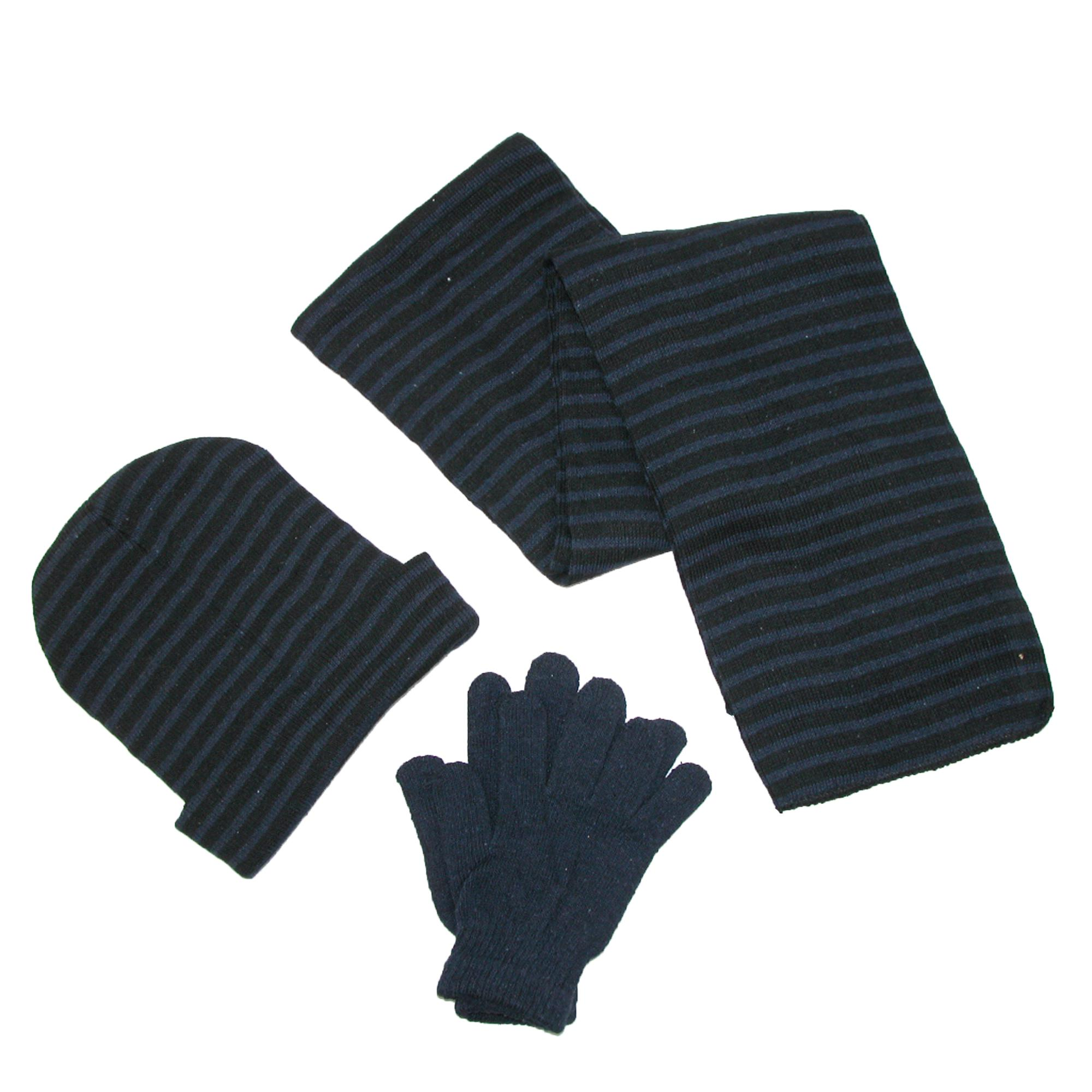 CTM®  Men's Knit Striped Hat Gloves and Scarf Winter Set