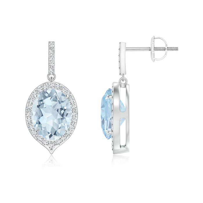 Angara Dangling Aquamarine and Diamond Halo Earrings in White Gold cMzCNYt