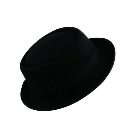 NYFASHION101® Wool Felt Wide Floppy Brim Porkpie Fedora Hat - Classic (Gold Wool Classic Hat)