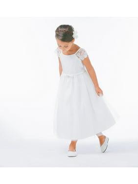 ba3ba3ed8e24 Product Image Sweet Kids Little Girls Off White Lace Sleeve Satin Flower  Girl Dress 4