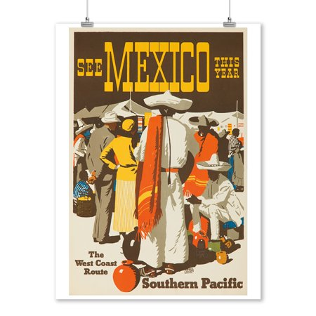 Southern Pacific - See Mexico Vintage Poster (artist: Logan) USA c. 1932 (9x12 Art Print, Wall Decor Travel (Ship Travel Vintage Poster)