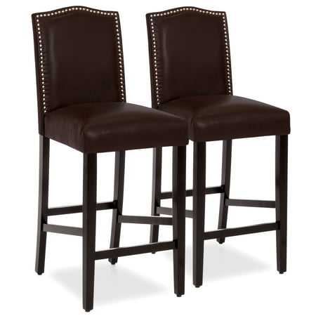 Best Choice Products Set of 2 30in Contemporary Faux Leather Counter Height Armless Backed Accent Breakfast Bar Stool Chairs for Dining Room, Kitchen, Bar w/ Studded Nail Head Trim - Brown