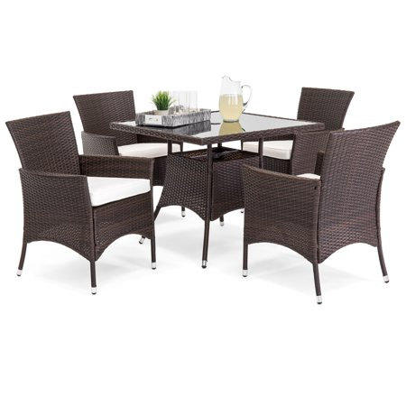 Best Choice Product 5-Piece Indoor Outdoor Wicker Patio Dining Set Furniture w/ Square Glass Top Table, Umbrella Cut Out, 4 Chairs -