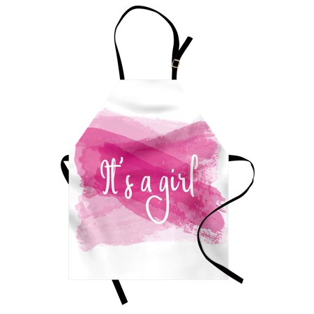 Gender Reveal Apron Girls Baby Shower Family New Member Style Soft Artsy Sketch Print, Unisex Kitchen Bib Apron with Adjustable Neck for Cooking Baking Gardening, Hot Pink and White, by Ambesonne