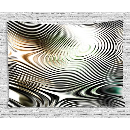 Abstract Decor Tapestry, Geometrical Modern Zebra like Pattern with Circled Details Artwork, Wall Hanging for Bedroom Living Room Dorm Decor, 60W X 40L Inches, Black and White, by Ambesonne