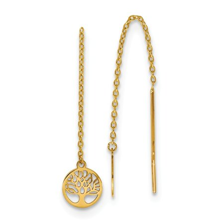 14k Yellow Gold Tree of Life Threader Earrings 14k Gold Threader Earrings