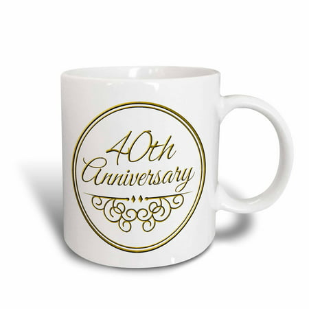 Wedding Ceramic (3dRose 40th Anniversary gift - gold text for celebrating wedding anniversaries - 40 years married together, Ceramic Mug,)